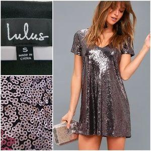 Lulu's Light Up the Night Lavender V Neck Dress